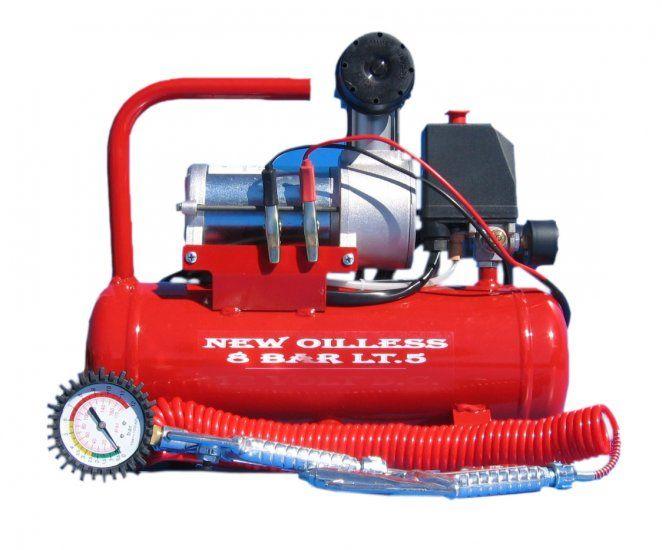 Compressore Monocilindrico 12V DC con serbatoio Lt.5