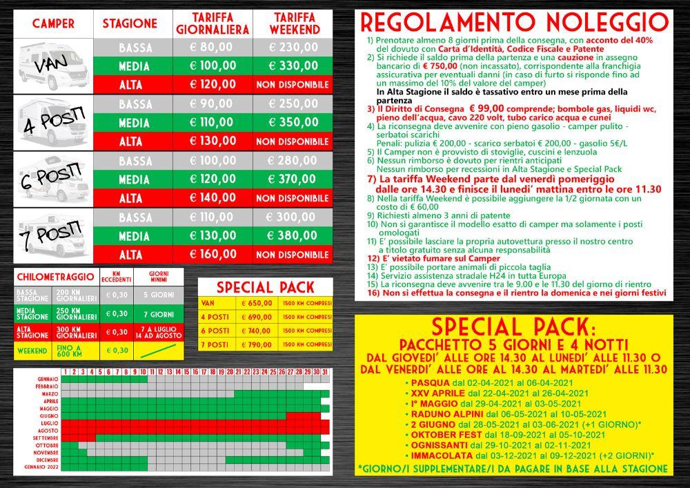 Listino Noleggio stagione 2021 Camping Sport Magenta