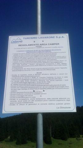 Area sosta camper a Lavarone, Regolamento area sosta, 18/08/16