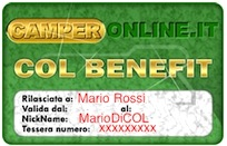 Solo benefici con la CamperOnLine Benefit Card!