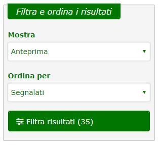 La nuova funzione 'Filtra e ordina risultati'